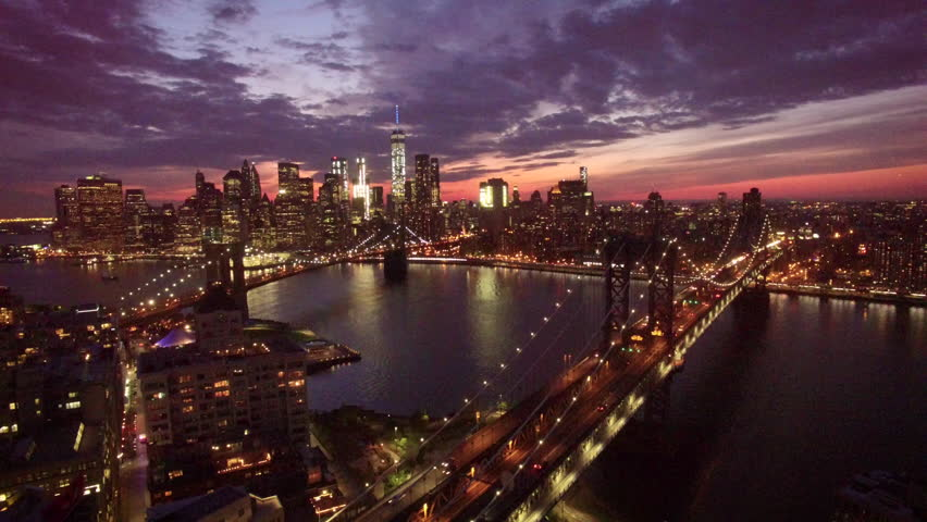 Descending view of Manhattan over bridge | Shutterstock HD Video #20638183