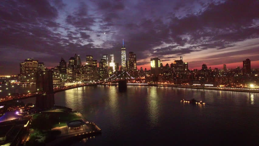 Flying away from Manhattan over bridge | Shutterstock HD Video #20638201