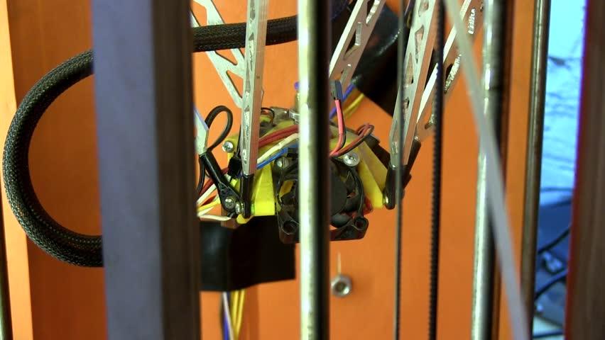 Mechanisms Of 3D Printer In Home Workshop. 3D Plastic Printer. 3D Printing