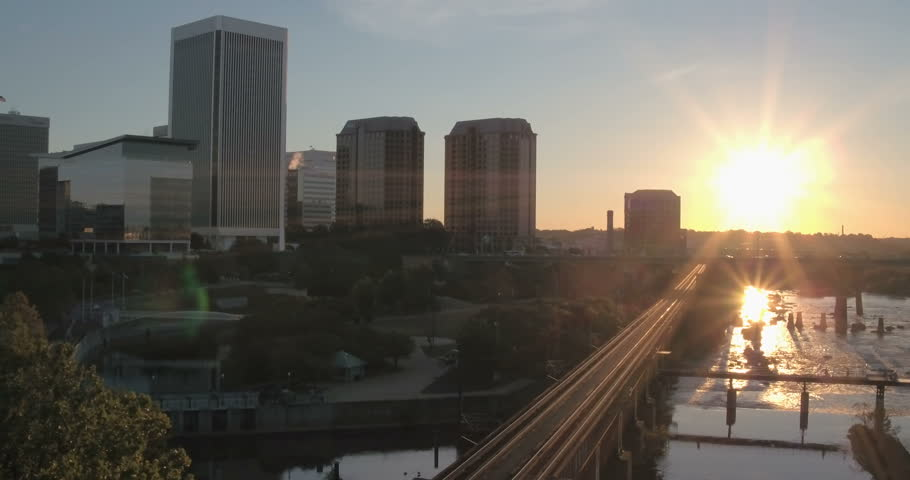 Aerial | Sunrise Over City by Railroad Tracks | Shutterstock HD Video #20711920