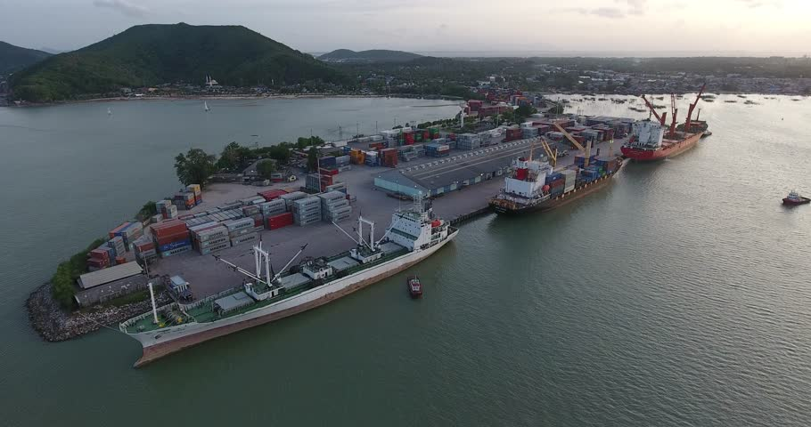 Aerial shot of container ship at port | Shutterstock HD Video #20872102