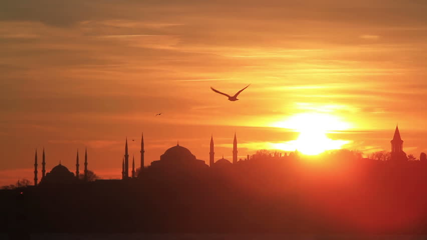 Istanbul, Sarayburnu. In the distance are such landmarks as Blue Mosque, Hagia Sophia and Topkapi Palace  - HD stock footage clip