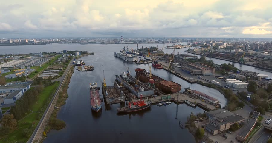 Aerial drone footage of dry-docked ships | Shutterstock HD Video #21088903