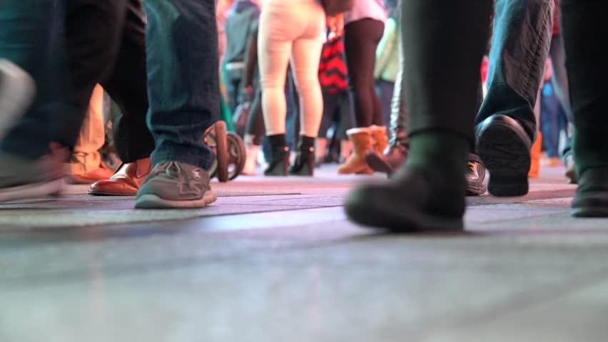 Closeup of people's feet walking at night | Shutterstock HD Video #21135847