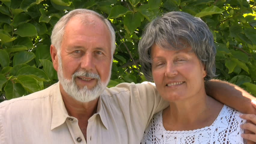 Happy older couple hugging - HD stock footage clip