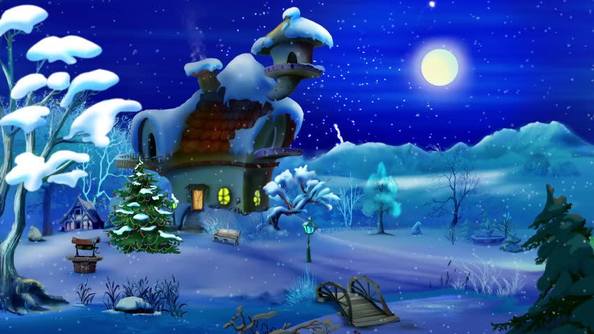 Classic Christmas Motion Background Animation Perfecty: Christmas Land. Looping Fly-through Animation Of A Journey