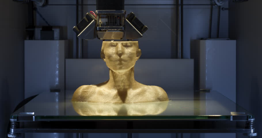 4K Time Lapse -  Close Up - Working 3D printer, printing a female bust with golden PLA filament in additive manufacturing technique - slight Zoom-In at end, part of a set of two, can be edited. | Shutterstock HD Video #21237259