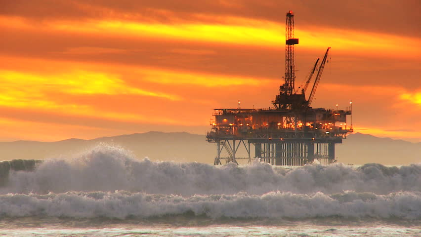 Offshore coastal oil drilling rig production - HD stock footage clip