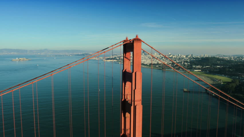 Aerial view over the Golden Gate bridge with the city of San Francisco, California, North America, USA