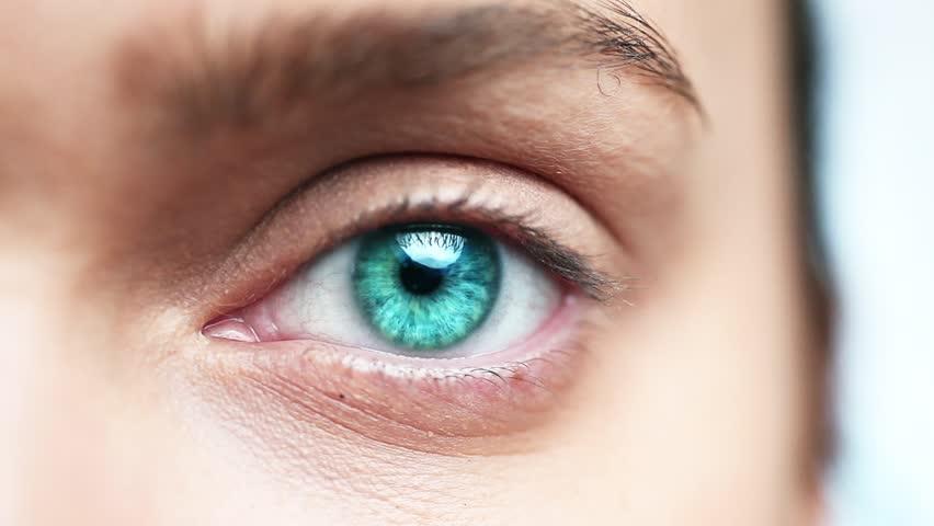 Macro closeup of human eye blinking
