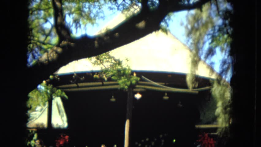 HAWAII 1966: house shaded trees people picnic outdoor | Shutterstock HD Video #21367372
