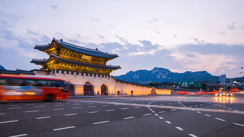 Seoul city place of front gyeongbokgung Palace after sunset and traffic, seoul, south korea. | Shutterstock HD Video #21486856