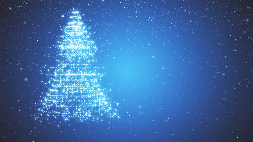 Snowy blue background with a rotating Christmas tree of shiny particles. Festive background with animated text Merry Christmas and Christmas tree. Winter background with falling snowflakes.  | Shutterstock HD Video #21529795