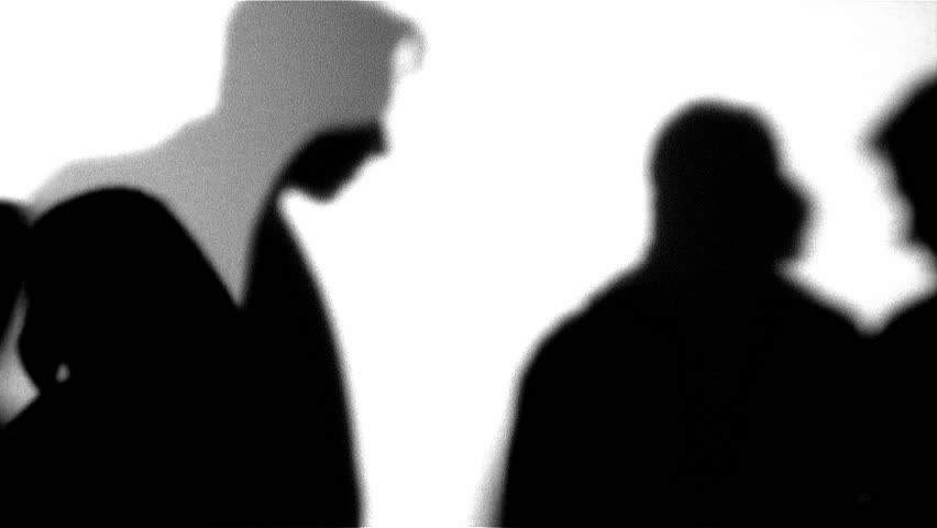 Black and white silhouette of people