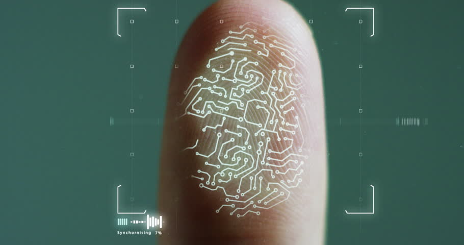 futuristic digital processing of biometric fingerprint scanner.concept of surveillance and security scanning of digital programs and fingerprint biometrics.cyber futuristic applications.