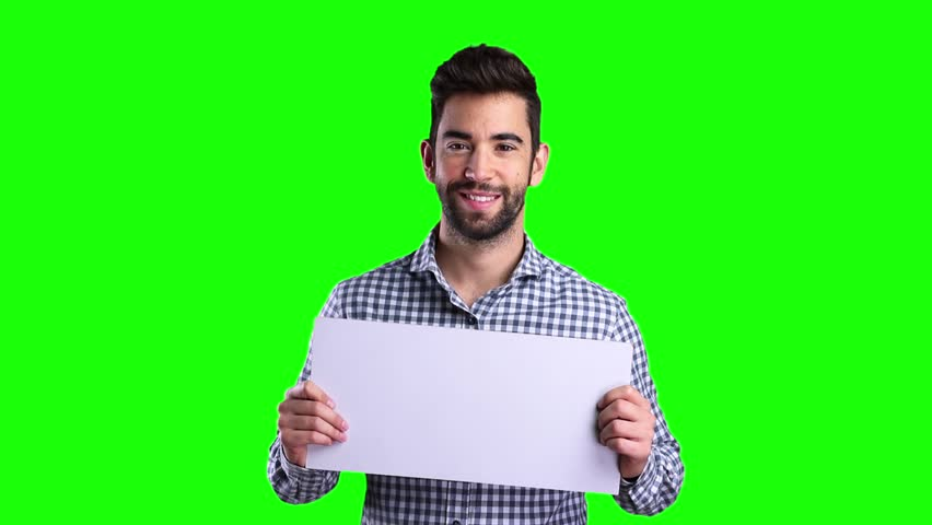 Young man holding a banner on green screen | Shutterstock HD Video #21588646