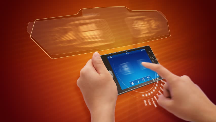 Hands holding and using business application on a tablet computer