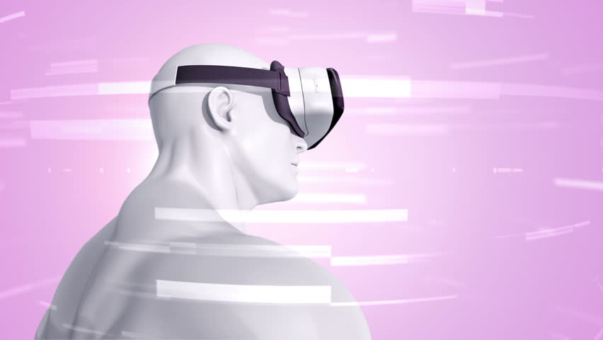 Animation of human with VR Headset at abstract space with particles and data. Virtual reality and technological industry. Animation of seamless loop. | Shutterstock HD Video #21718444