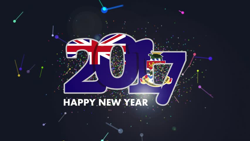 Year 2017 with Cayman Islands Flag pattern. Animation of lettering Happy New Year Design on white background. HD Video