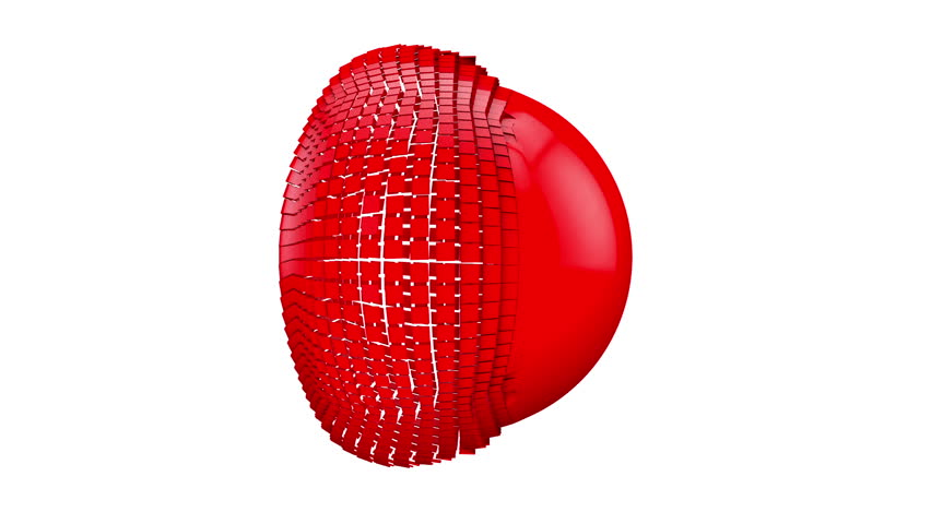 Red ball symbol logo video on a white background and alpha channel