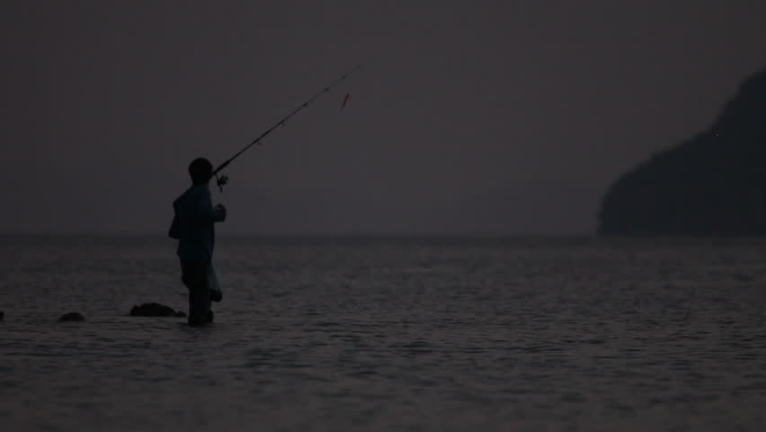 Fisherman and the Sea - HD stock footage clip