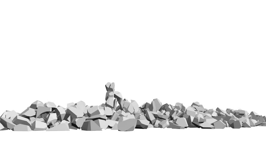 Rendered image showing the recovery and reconstruction of the word BRAND from just a pile of rubble remains, symbolic of luck - HD stock footage clip