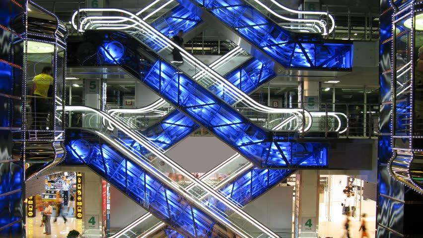 escalators in shop - HD stock footage clip