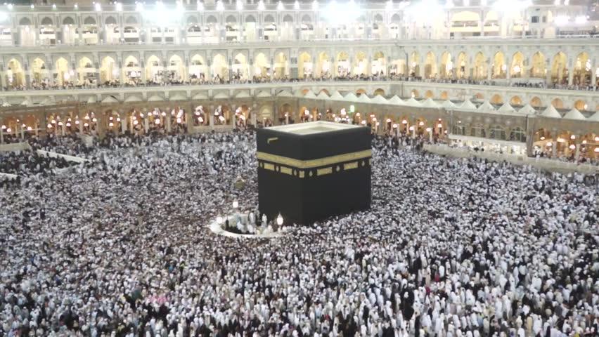 Muslim pilgrims circumambulate the Kaaba at Masjidil Haram on February 22, 2012 in Makkah, Saudi Arabia. Muslims all around the world face the Kaaba during prayer time.