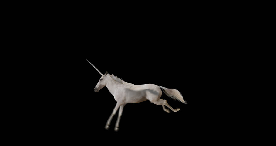 Pegasus and winged Unicorn flying on a transparent background. The first flying horse with horn, and the second without horn. Isolated and cyclic animation. Seamless loop. Alpha channel.