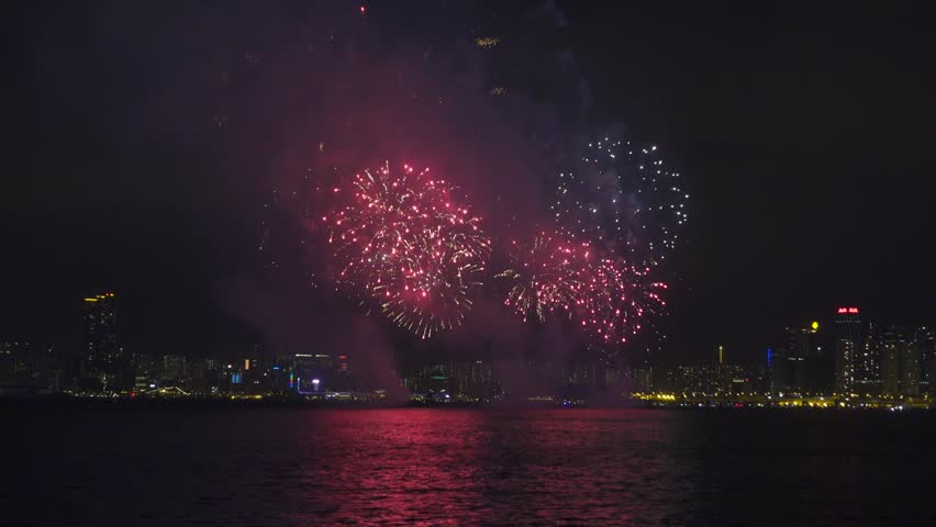 Chinese New Year Fireworks in Hong Kong, timelapse, 4k   Shutterstock HD Video #21940249