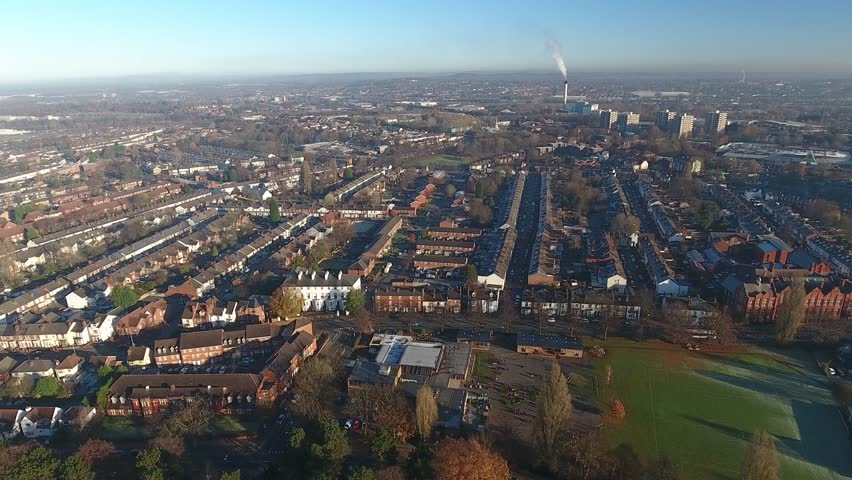 Aerial view over a school in England. | Shutterstock HD Video #21990973