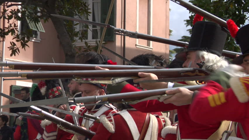 LOANO, ITALY - April 15: Reenactment of battle between French and British