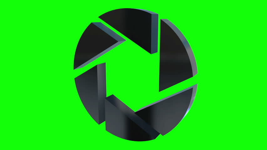 Aperture iris diaphragm logo rotate. Diaphragm like circular symbol for photography, technology logotype. Available in HD video 3d render footage. Chroma key green screen.
