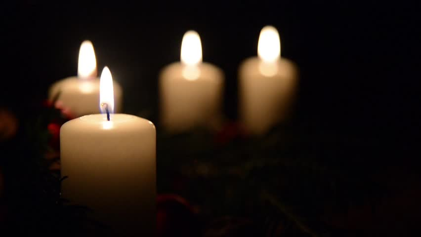 Advent candles with decorated fir tree
