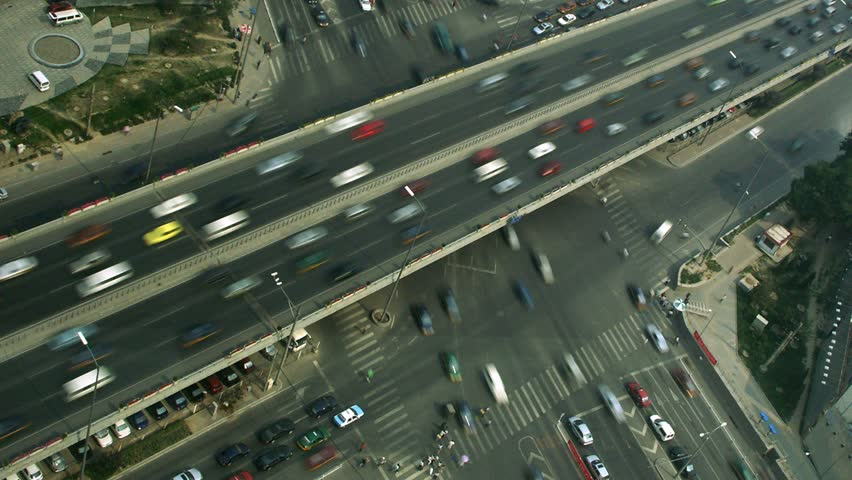 Timelapse twist movement of intersection at Hu Jilao in Beijing, China. - HD stock footage clip