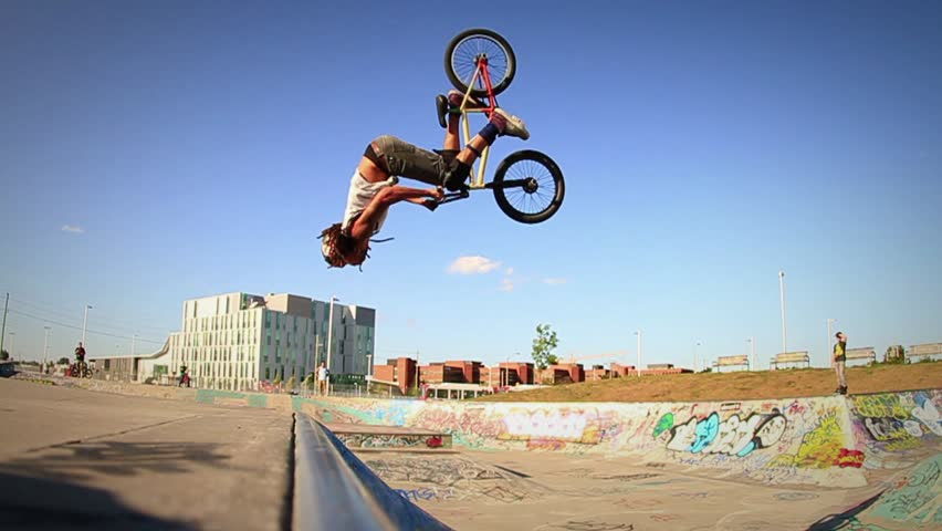 BMX Backflip in Super Slow Motion - HD stock footage clip