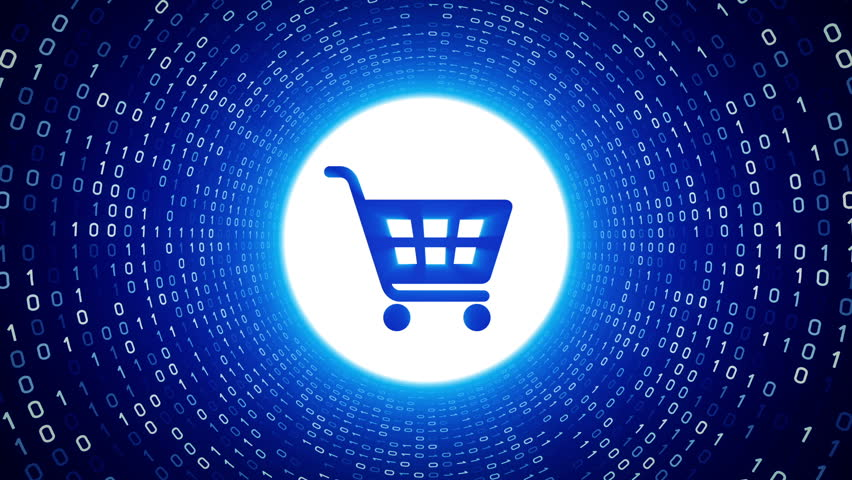 Numbers and symbols form a shopping cart icon red tint for Number 1 online shopping site