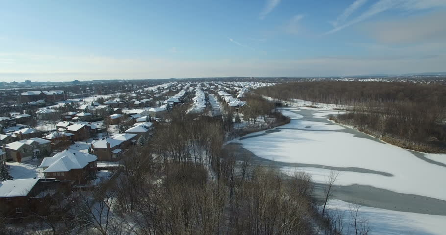 Aerial Winter Snow Landscape - Natural Park Montreal, Canada