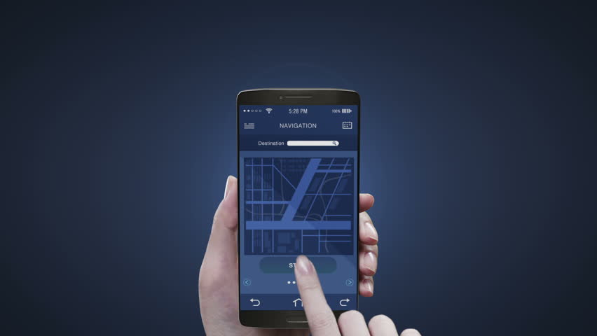 Touching navigation application on mobile screen, using road destination information.  #22261963
