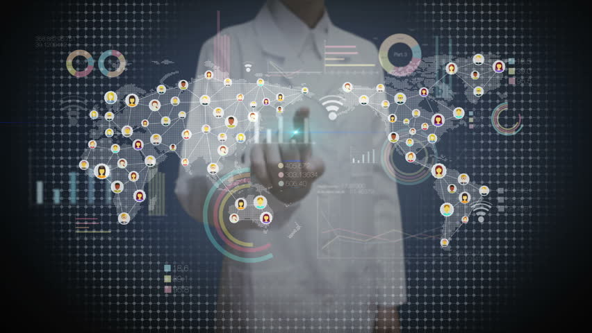 Female doctor touching digital screen, connected people, using communication technology. with economic diagram,chart,graph. | Shutterstock HD Video #22262044