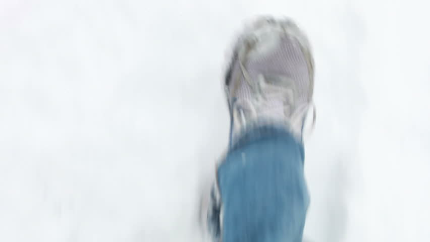 Walking on the snow (subjective POV) - HD stock video clip