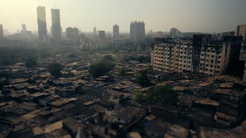 A Mumbai city suburb with a tilt-shift effect.