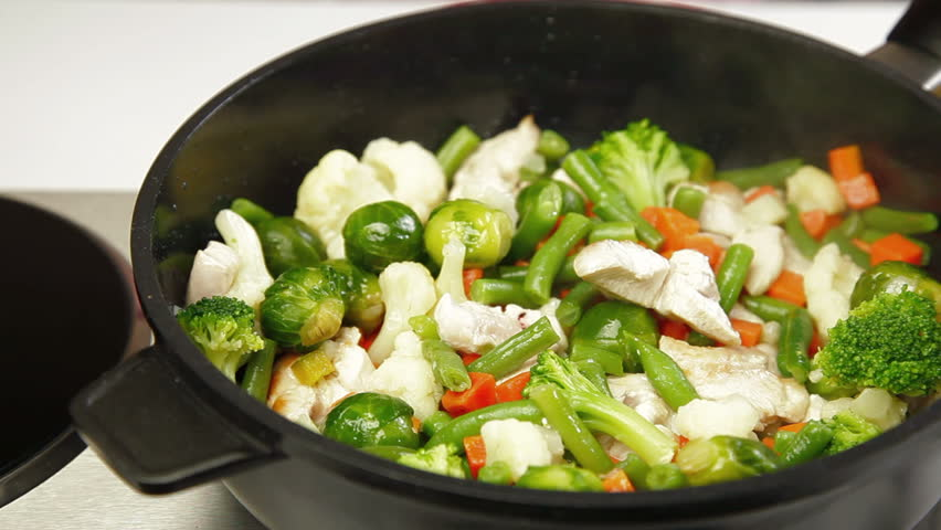 DOLLY: Chicken and Vegetable Stir Fry - HD stock video clip