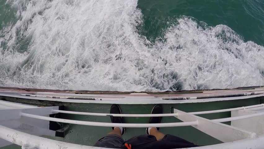 First person view from ship down the sea waves. Boat makes the water into beautiful foam wakes. GoPro, HD. Thailand | Shutterstock HD Video #22687996