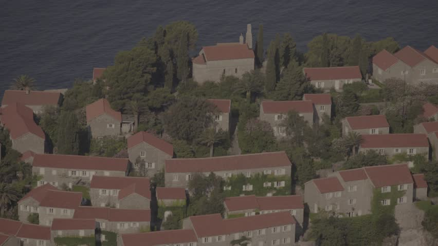 The roofs of Sveti Stefan. Architecture. The Symbol Of Montenegro.   Shutterstock HD Video #23055151