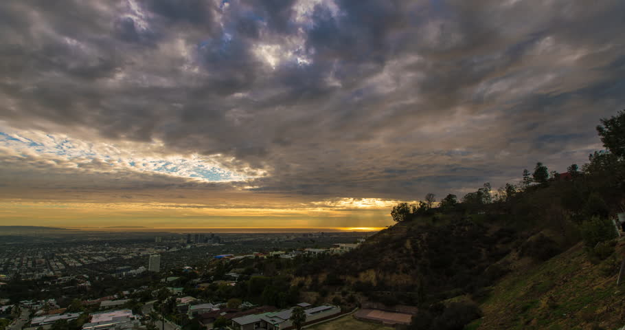 Time-lapse of the sun set over Los Angeles basin | Shutterstock HD Video #23080333
