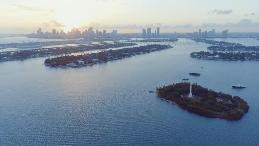 Fast Flying Away Aerial Shot of Miami Florida Biscayne Bay Port Keys and Flagler Island   Shutterstock HD Video #23106694