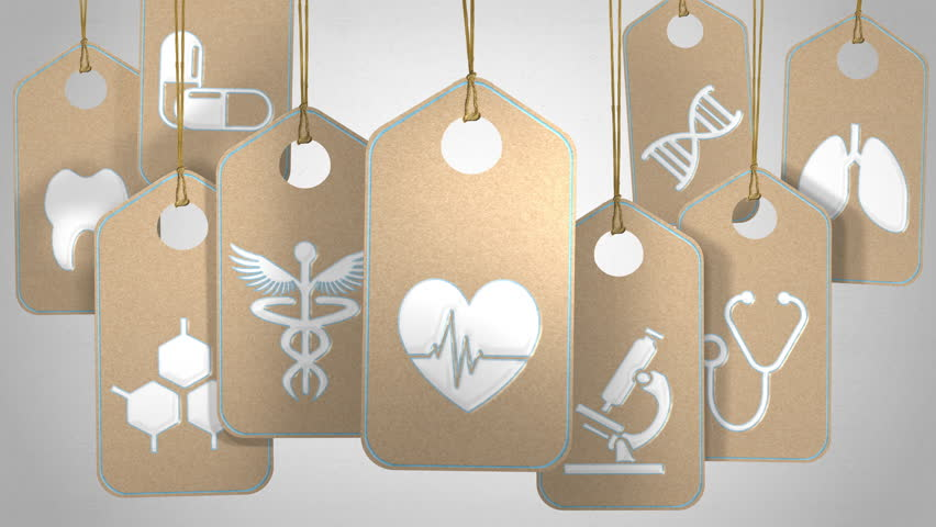 Medical and healthcare concept. Tags with symbols and icons about hospital and doctor. Seamlessly loopable   Shutterstock HD Video #23126053