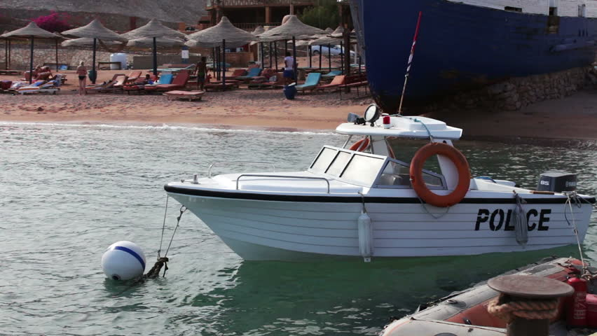 Boat water police moored near the shore in Red Sea   Shutterstock HD Video #23131867