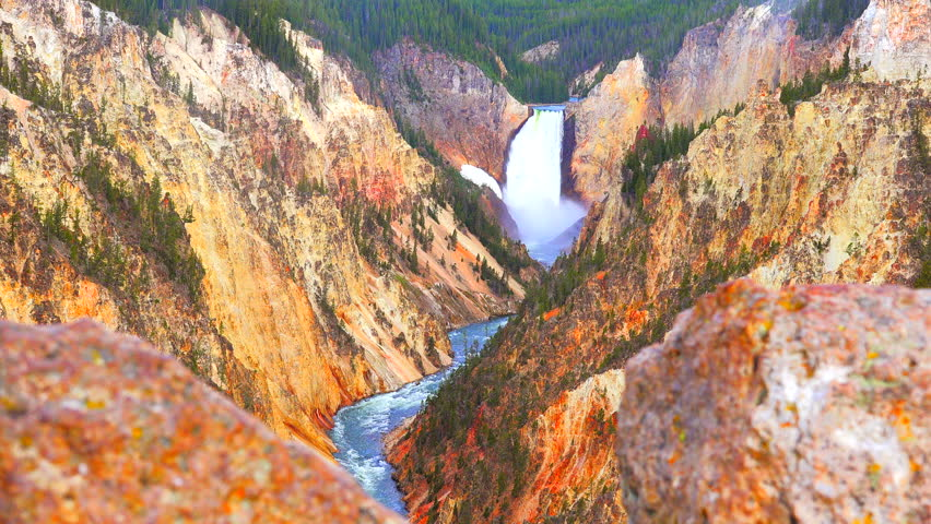 Yellowstone National Park. Wyoming. Waterfall.  | Shutterstock HD Video #23138257